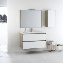 HIRO YOKO - MELAMINA OAK+LACADO BLANCO MATE- mueble de baño Nuovvo