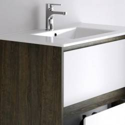 HIRO YOKO - MELAMINA ROBLE JEREZ+LACADO BLANCO MATE- - mueble de baño Nuovvo