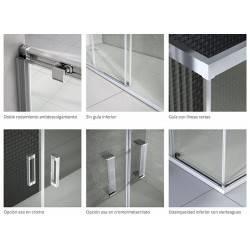 detalle - VAROBATH 100-203 basic angular 2 fijos y  2 puertas correderas