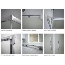 detalle VAROBATH 700-202 tempo angular 2 fijos y  2 puertas correderas entrada vertice