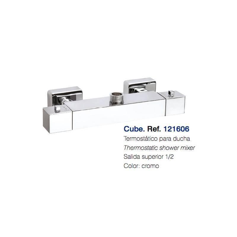 Termostático de Ducha - CLAUSYBATH - serie CUBE - salida 1/2 - cromo