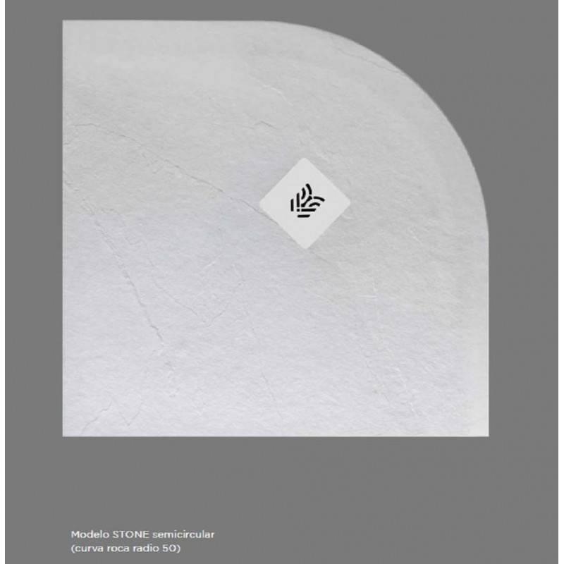 Plato de Ducha Semicircular de Resina textura PIEDRA PIZARRA - Verrochio STONE-SEMI