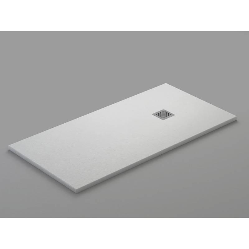 Plato de ducha de resina - LLUVIA - textura PIZARRA - color BLANCO-GRAFITO