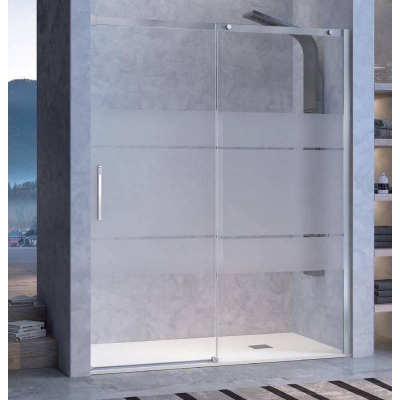 Mampara Frontal de ducha - LUNA (KASSANDRA) - transparente / decorado - 1 fijo + 1 puerta corredera