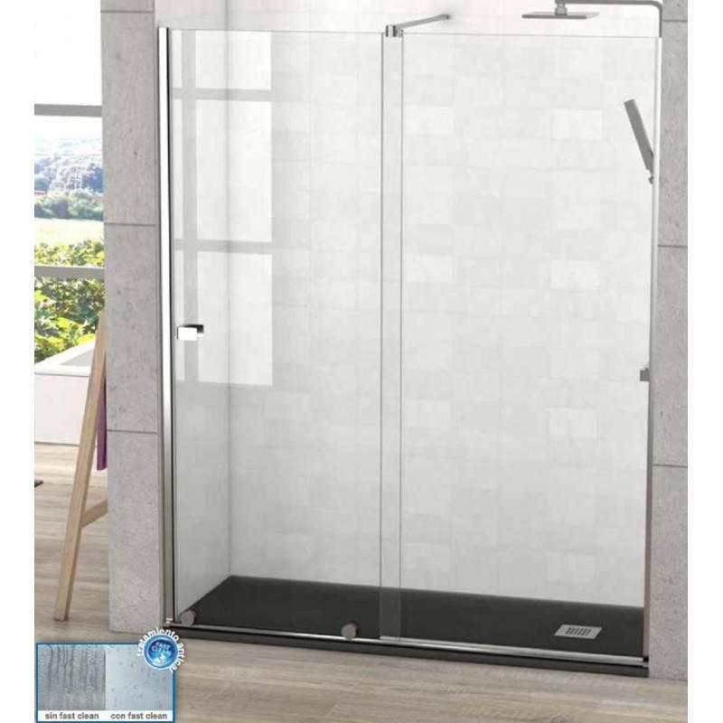 Mampara Frontal de ducha - MANHATTAN (BECRISA) - transparente - 1 fijo + 1 puerta corredera
