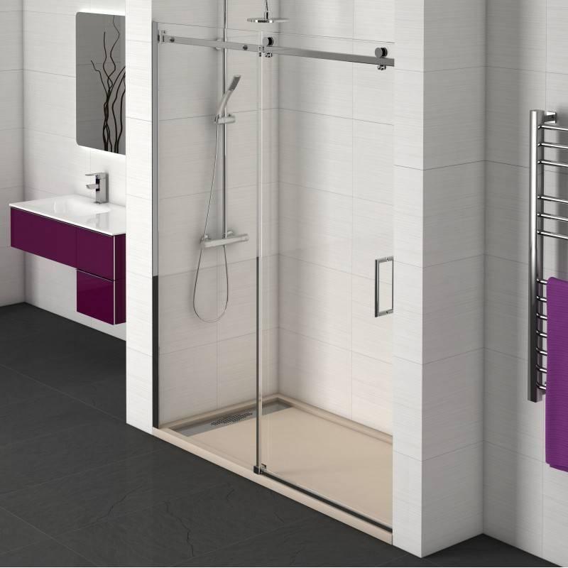 Mampara Frontal de ducha - ELIPSIS (BECRISA) - transparente - 1 fijo + 1 puerta corredera