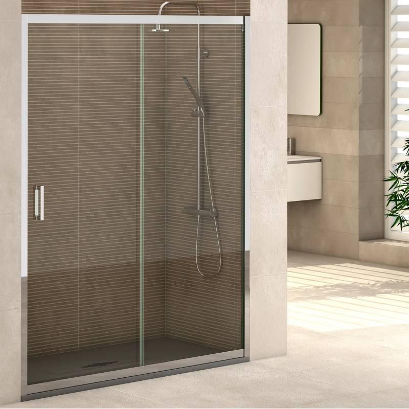 Mampara Frontal de ducha - SINTRA (BECRISA) - transparente / decorado - 1 fijo + 1 puerta corredera