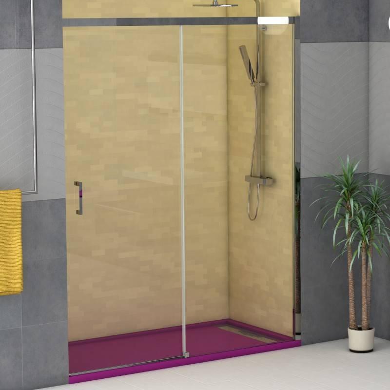Mampara Frontal de ducha - COLUMBIA (BECRISA) - transparente - 1 fijo + 1 puerta corredera