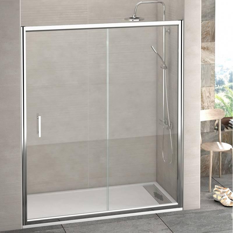 Mampara Frontal de ducha - CLIO (BECRISA) - transparente / decorado- 1 fijo + 1 puerta corredera