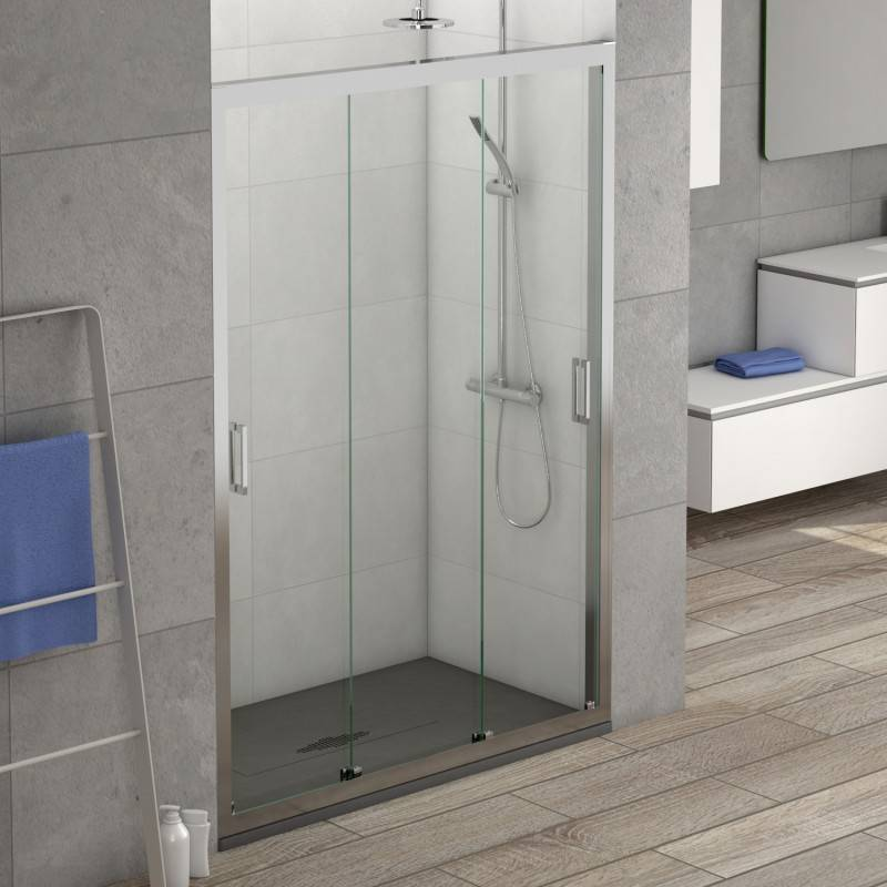 Mampara Frontal de ducha - BRISTOL (BECRISA) - transparente / decorado - 3 puertas correderas