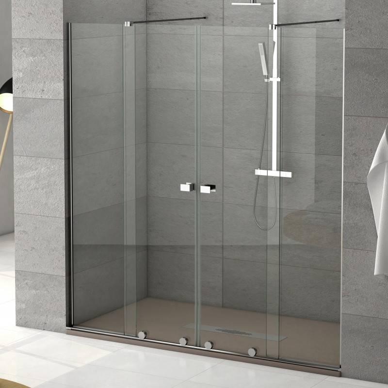 Mampara Frontal de ducha - MANHATTAN (BECRISA) - transparente - 2 fijos + 2 puertas correderas