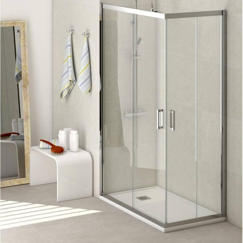 Mampara Angular de ducha - SINTRA (BECRISA) - transparente / decorado - 2 fijos + 2 puertas correderas