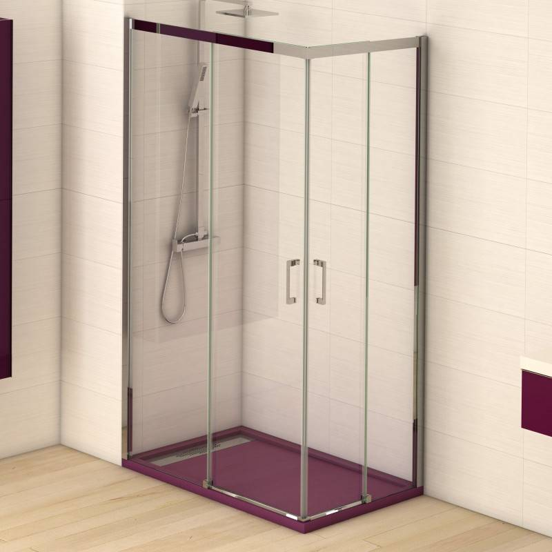 Mampara Angular de ducha - COLUMBIA (BECRISA) - transparente - 2 fijos + 2 puertas correderas
