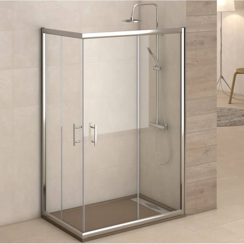 Mampara Angular de ducha - CLIO (BECRISA) - transparente / decorado- 2 fijos + 2 puertas correderas