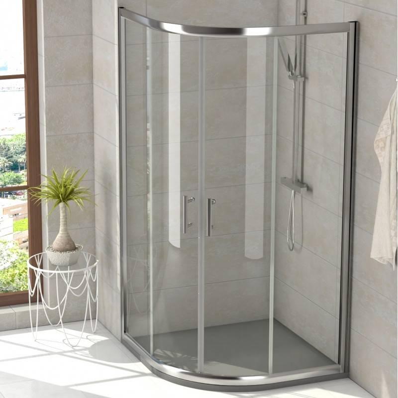 Mampara Semicircular de ducha - CLIO (BECRISA) - transparente / decorado- 2 fijos + 2 puertas correderas - R500 - R550