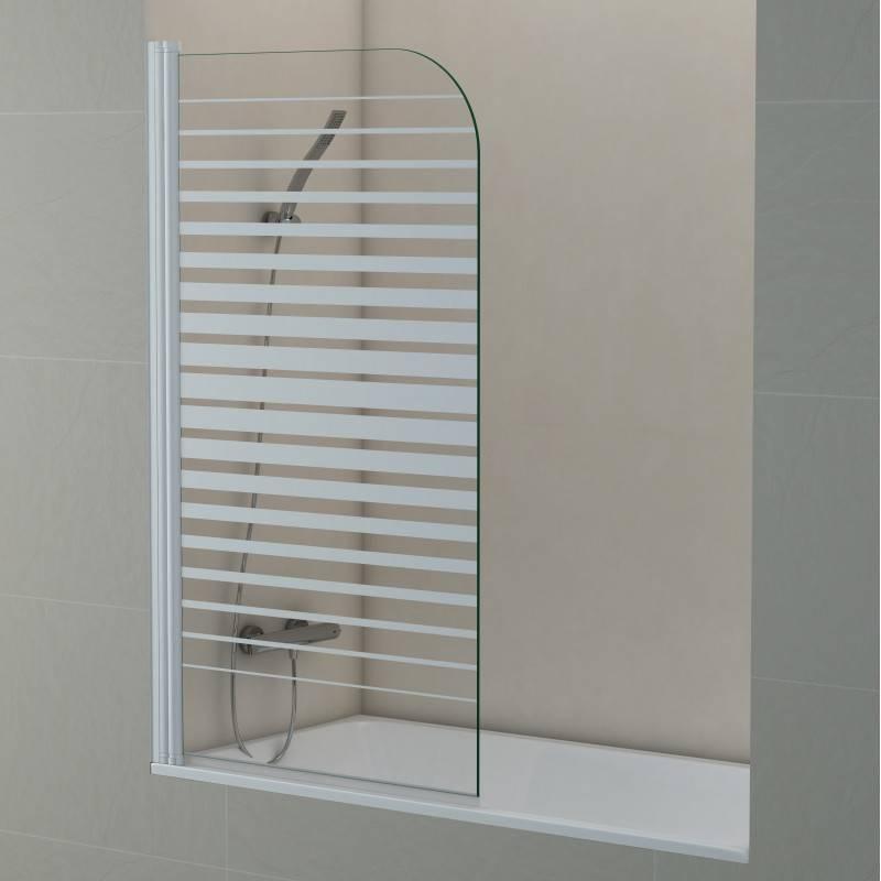 Mampara Frontal de bañera- SCREEN RAYAS (BECRISA) - decorado - 1 puerta abatible sin cierre