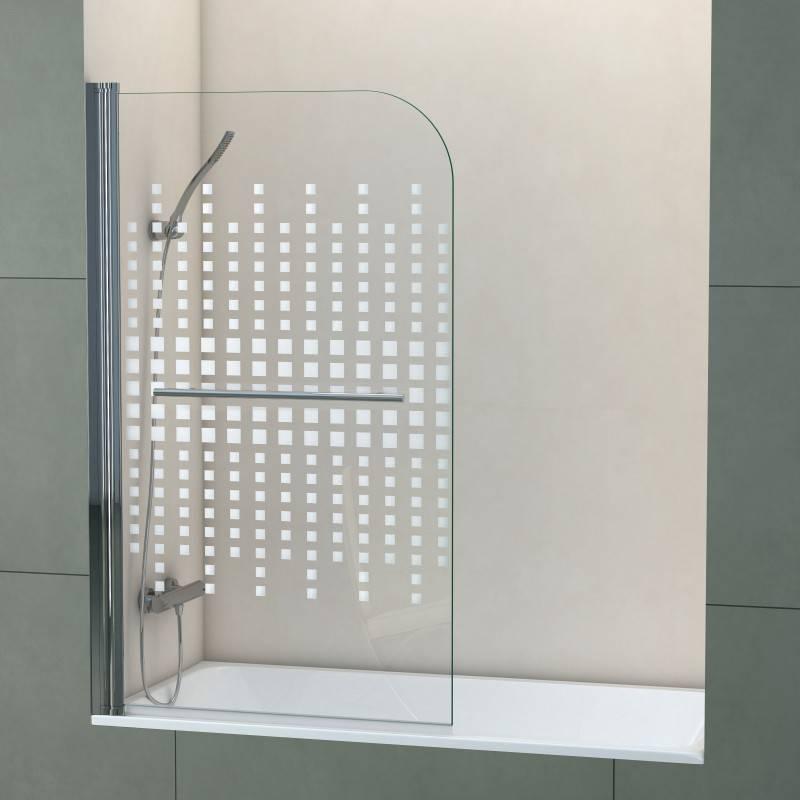 Mampara Frontal de bañera- SCREEN CUADROS (BECRISA) - decorado - 1 puerta abatible sin cierre