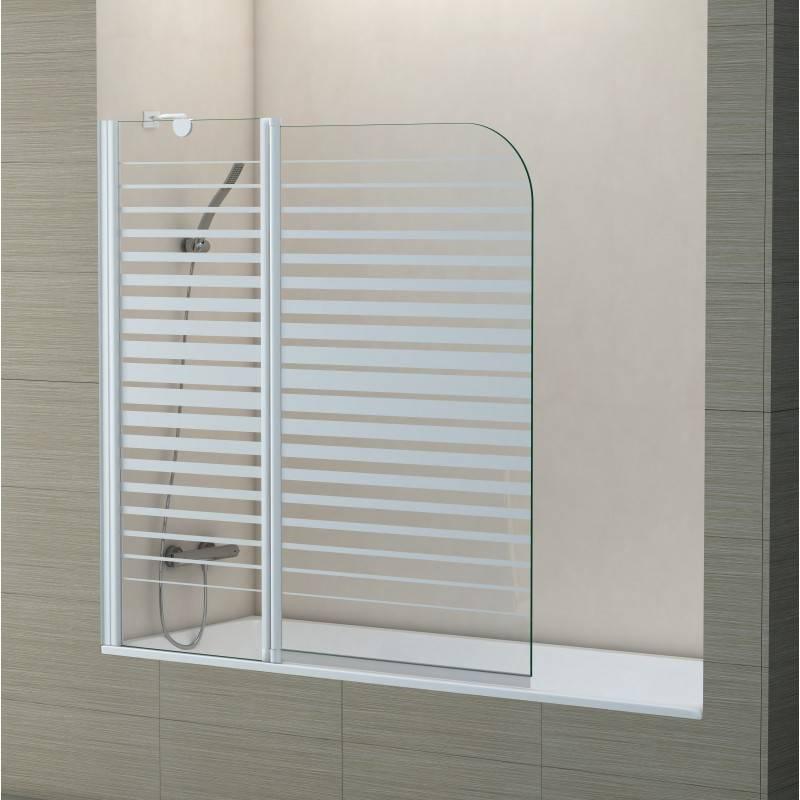Mampara Frontal de bañera- TWIN RAYAS (BECRISA) - decorado - 1 fijo + 1 puerta abatible sin cierre