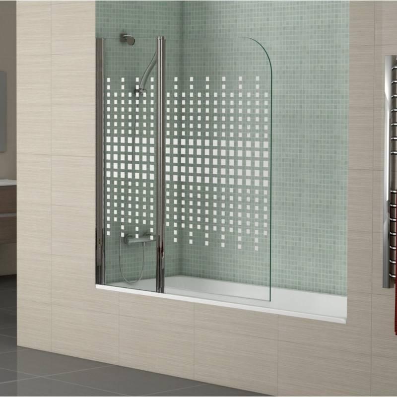 Mampara Frontal de bañera- TWIN CUADRADOS (BECRISA) - decorado - 1 fijo + 1 puerta abatible sin cierre