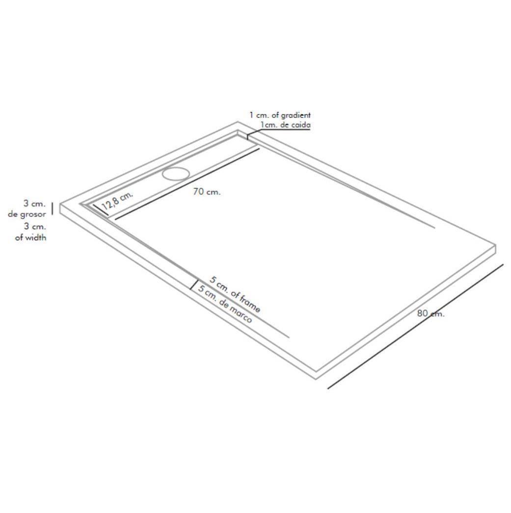 Plato de Ducha de Resina textura PIZARRA - Duplach Stone Cach - medidas